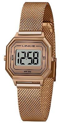 Relógio Feminino Rose Digital Pequeno Quadrado Lince Origina