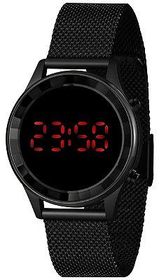 Relógio Feminino Preto Digital Led Vermelho Lince Origina+NF