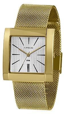 Relógio Feminino Dourado Quadrado Ponteiro Lince Prov D'Água