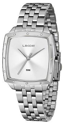 Relógio Feminino Prata Lince Quadrado com Pedras Analógico