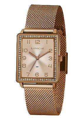 Relógio Feminino Rose Quadrado Lince com Pedras Ponteiro+NF
