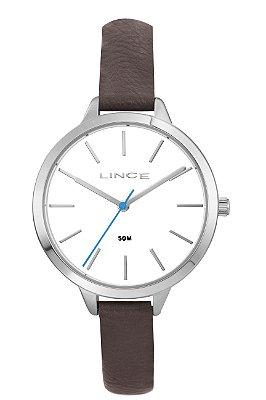 Relógio Feminino Prata Ponteiro Pulseira de Couro Lince + NF