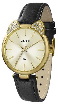 Relógio Feminino Dourado Couro com Orelhas de Gatinho Lince