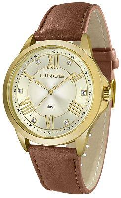 Relógio Feminino Dourado Lince Pulseira Couro Marrom Ponteir