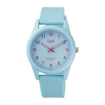 Relógio Feminino Azul Ponteiros Pulseira Silicone Original