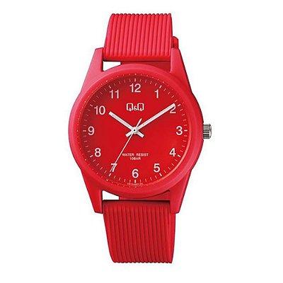 Relógio Feminino Vermelho Pulseira Silicone Ponteiro Q&Q +NF
