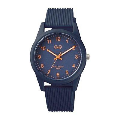 Relógio Feminino Azul Marinho Ponteiros Prova D'Agua Q&Q
