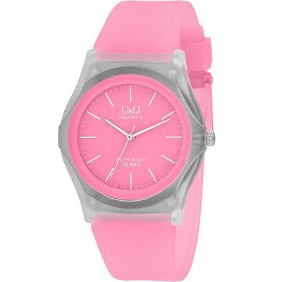 Relógio Feminino Rosa Transparente Ponteiros Sem Números Q&Q