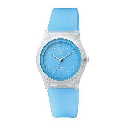Relógio Feminino Azul Transparente Ponteiros Sem Números +NF