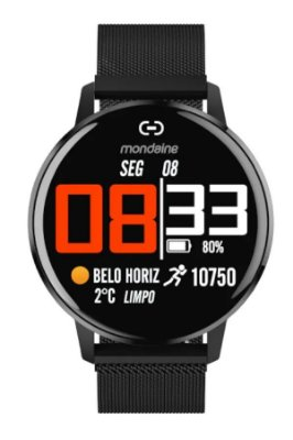 Smartwatch IOS e Android Prova D'Água Preto Original+NF