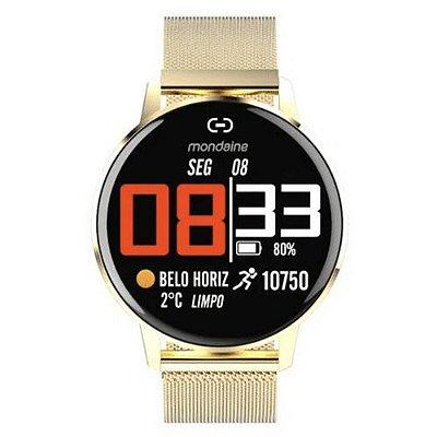 Smartwatch IOS e Android Prova D'Água Dourado Origina+NF