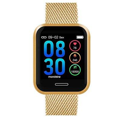 Smartwatch Quadrado IOS e Android Prova D'Água Dourado