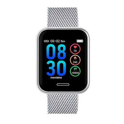 Smartwatch Quadrado IOS e Android Prova D'Água Prata+NF