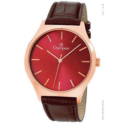 Relógio Feminino Rose Fundo Vermelho Pulseira de Couro