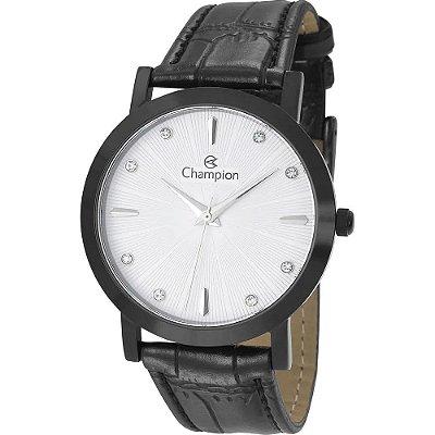 Relógio Feminino Preto Champion Pulseira de Couro Preto +NF