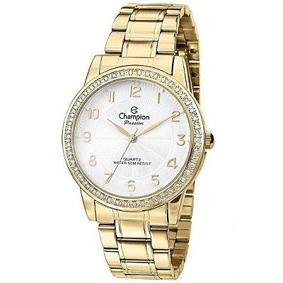 Relógio Feminino Dourado Champion com Pedras Ponteiro + NF