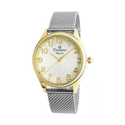 Relógio Feminino Prata e Dourado Champion Todos os Números