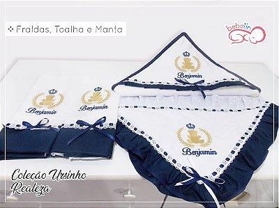 Kit 2 Fraldas + Manta + Toalha Capuz