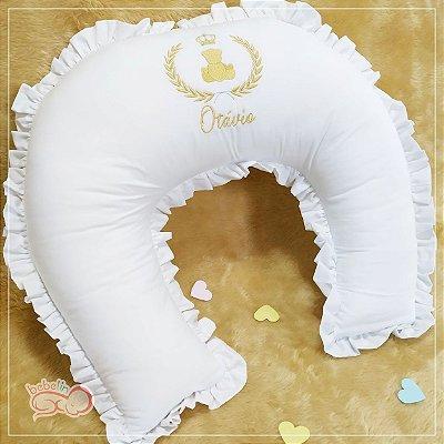 Almofada Amamentação Branca Ursinho Realeza