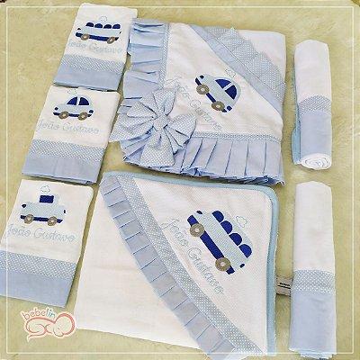 Kit Maternidade Carrinhos 7 Peças - Azul