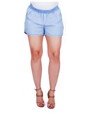 Shorts Jeans Claro Com Elástico Gestante