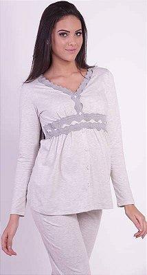 Pijama Malha Amamentação Blusa e Calça