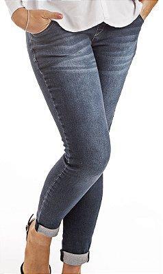 Calça Jeans Cropped Um a Nove Gestante