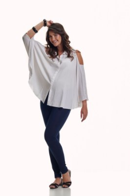 Camisa Branca Gestante e Amamentação