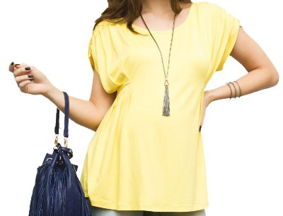 Blusa Amarela Pregas Gestante Due Vita