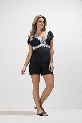 Pijama Amamentação Blusa e Shorts Megadose