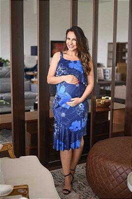 Vestido Azul Gestante e Amamentação Megadose