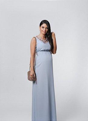 Vestido Longo Azul Claro Gestante