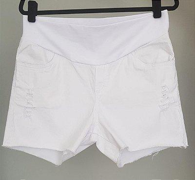 Shorts Gestante Branco Megadose