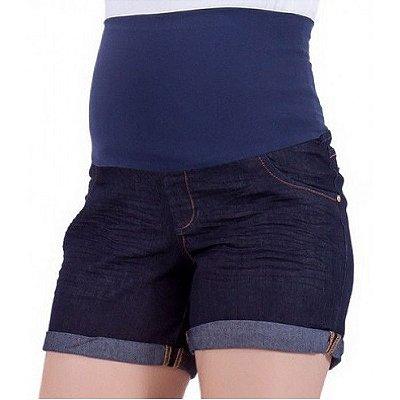 Shorts Jeans Escuro Moda Gestante