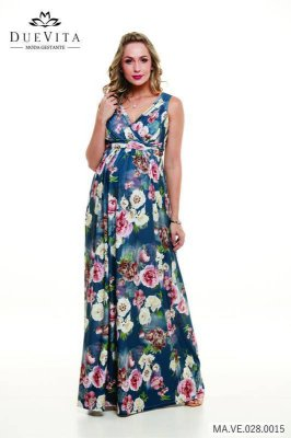 Vestido Gestante Floral Azul Due Vita