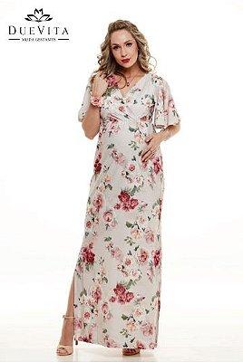 Vestido Longo Gestante Floral Due Vita
