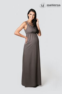 Vestido Longo Gestante Detalhe Decote Matterna