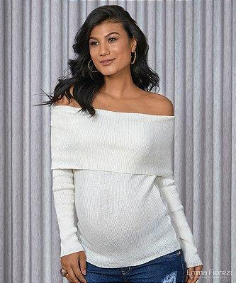 Blusa Gestante Tricot Branca