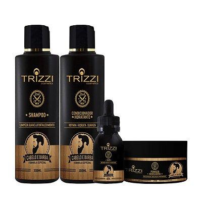 Kit 2 em 1 Cabelo e Barba Trizzi Shampoo 300ml + Condicionador 300ml + Pomada Modeladora 200gr + Óleo 60ml