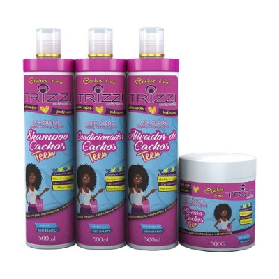 Kit Teen Trizzi - Shampoo 500ml + Condicionador 500ml + Máscara 500g +Ativador 500ml