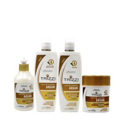 Kit Nature Master Argan Trizzi - Shampoo 300ml + Condicionador 300ml + Creme de Pentear 300ml + Máscara 500gr