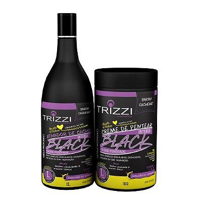 Kit Intense Black Cachos Poderosos Trizzi - Ativador de Cachos 1L + Creme de Pentear 1kg