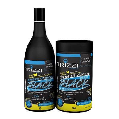 Kit Infinity Black Cachos Definidos Trizzi - Ativador de Cachos 1L + Creme de Pentear 1kg