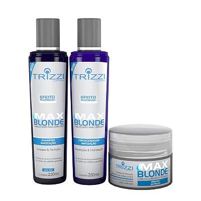 Kit completo Linha Max Blond Trizzi shampoo 250ml, condicionador 250ml e máscara 300g
