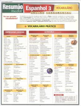 RESUMAO - ESPANHOL 3 - VOCABULARIO