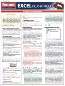 Resumao Informatica - Excel - Dicas e Truques