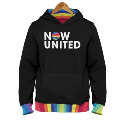 Moletom Now United Logo Barra Colorida - Preto