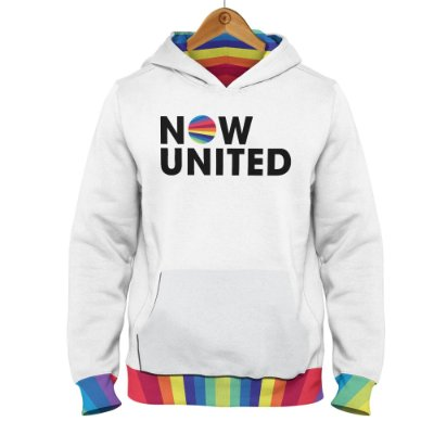 Moletom Now United Logo Barra Colorida - Branco
