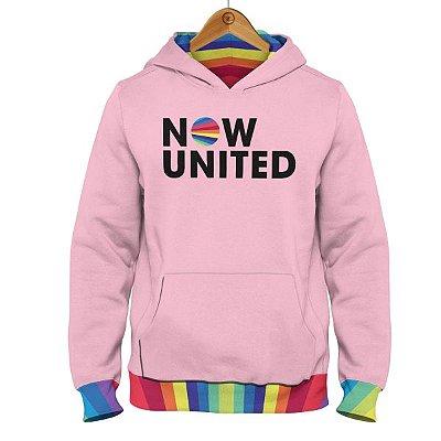 Moletom Now United - Logo Barra Colorida - Rosa Bebê