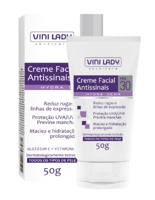 Creme Facial Antissinais FPS30 Redutor de Rugas e Linhas de Expressão 50gr